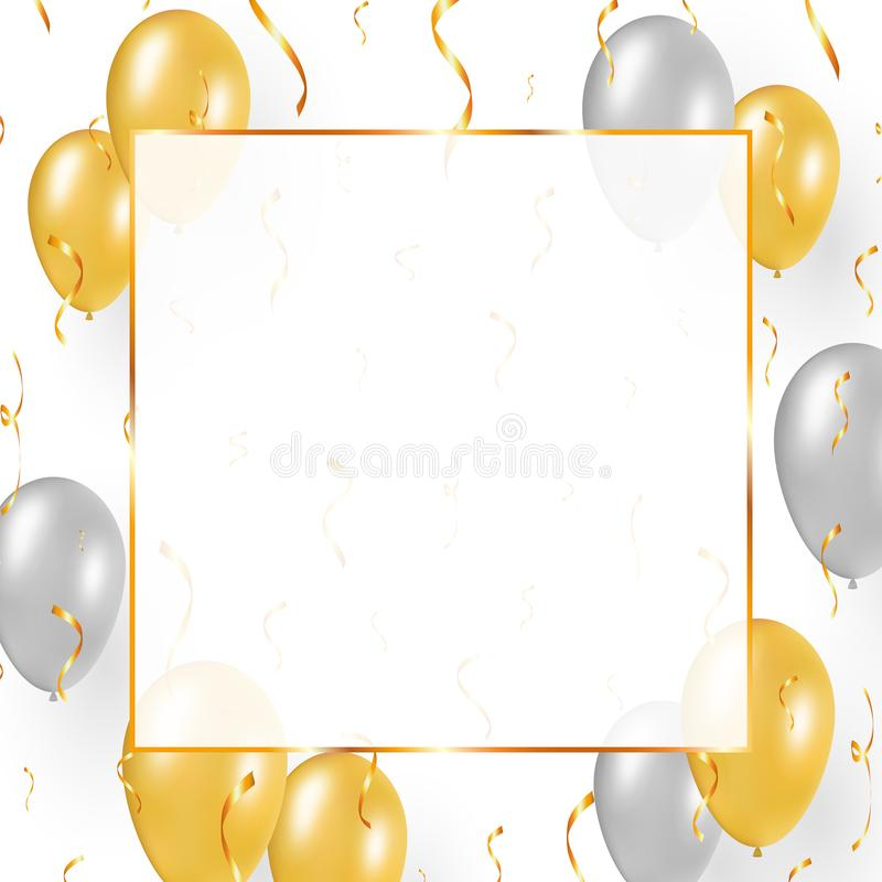 Diseño con los globos del oro, confeti de la celebración ilustración del vector