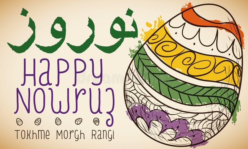 Diseño con los huevos pintados dibujados mano, ejemplo de Nowruz del vector stock de ilustración
