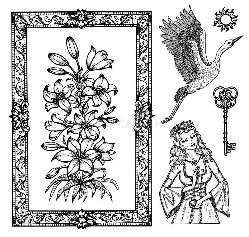 Diseño con princesa, cigüeña y flor de lirio aislada en blanco stock de ilustración