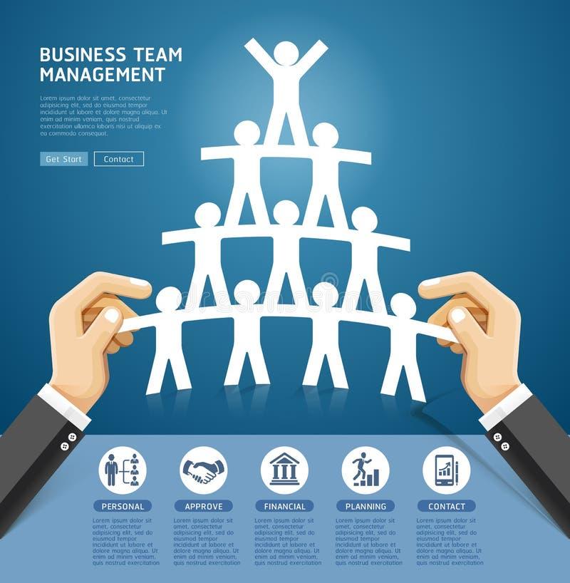 Diseño conceptual de la gestión del equipo del negocio Mano que sostiene un papel stock de ilustración
