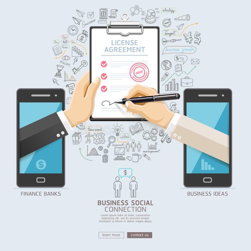 Diseño conceptual de la tecnología social de la conexión del negocio libre illustration