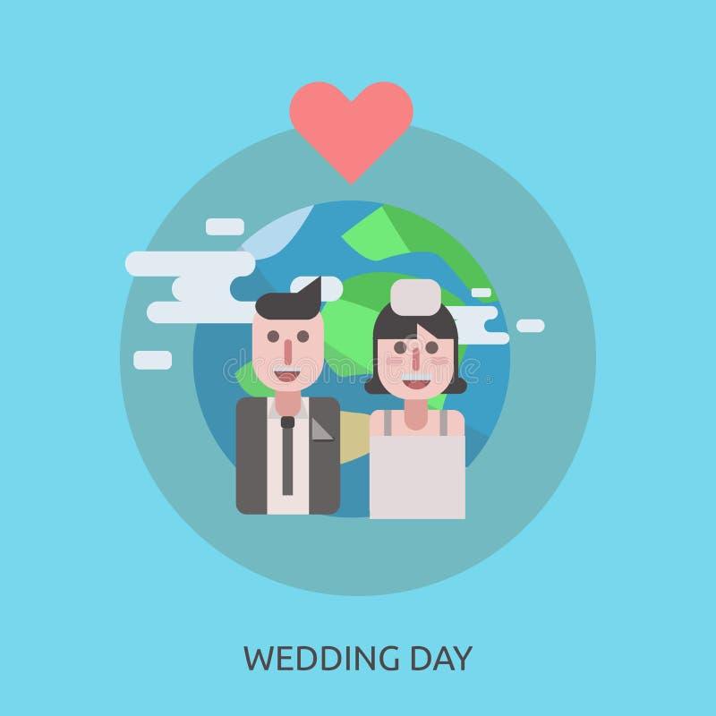 Diseño conceptual del día de boda ilustración del vector