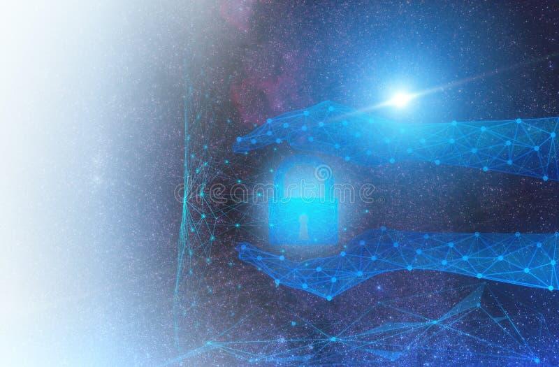 Diseño conceptual en la protección y la seguridad del Internet global y datos personales usando te de la inteligencia artificia fotos de archivo libres de regalías