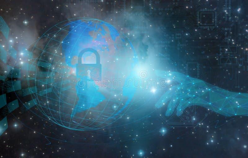 Diseño conceptual y diseño en la protección y la seguridad de Internet y datos personales usando techno de la inteligencia art