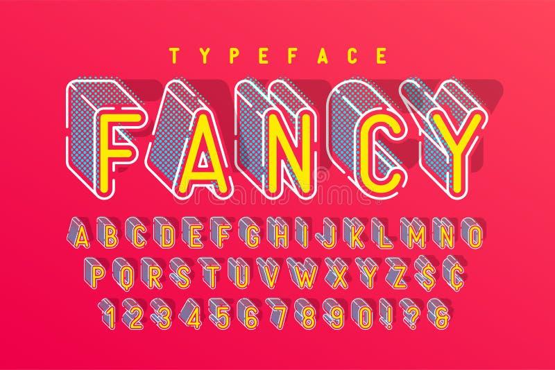 Diseño condensado del popart de la fuente de la exhibición 3d, alfabeto ilustración del vector
