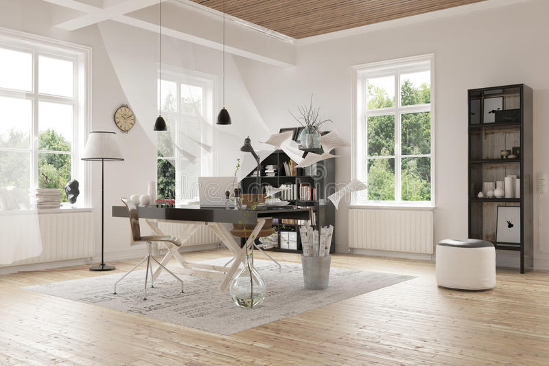 Diseño contemporáneo de un cuarto de estudio espacioso stock de ilustración