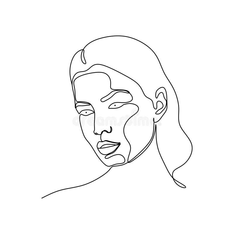 Diseño continuo del minimalismo del dibujo lineal de la cara abstracta de la muchacha un aislado en el fondo blanco stock de ilustración