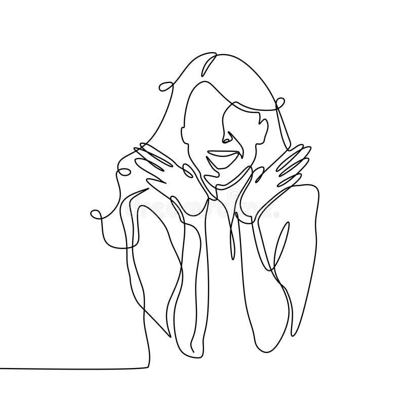 Diseño continuo sorprendido del minimalismo del dibujo lineal de la muchacha una en el fondo blanco stock de ilustración