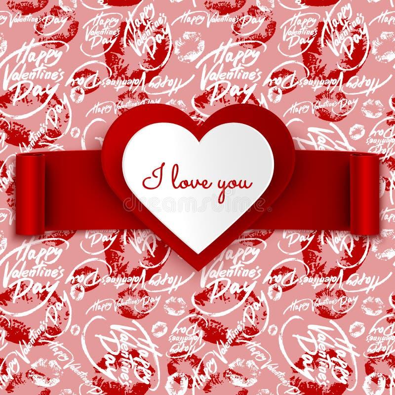 Diseño, corazón y cinta de la tarjeta de felicitación del vector del día de tarjeta del día de San Valentín en modelo inconsútil libre illustration