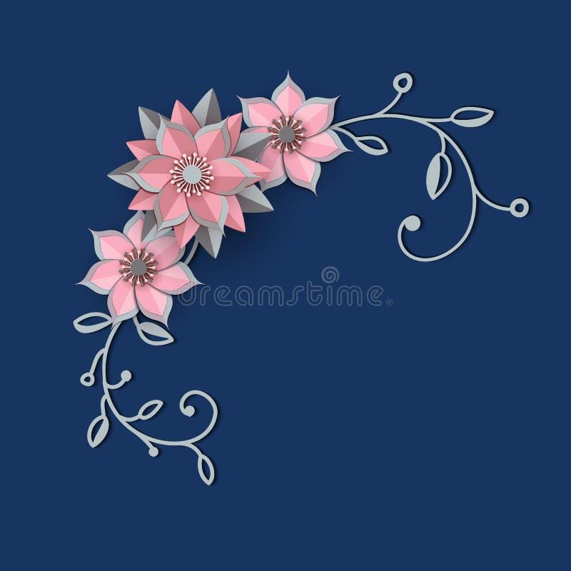 Diseño cortado de papel con la composición de la flor Fondo hermoso del ángulo con las decoraciones y las hojas florales de la fa ilustración del vector