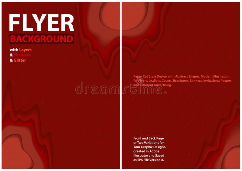 Diseño cortado de papel del estilo con capas y brillo rojos ilustración del vector