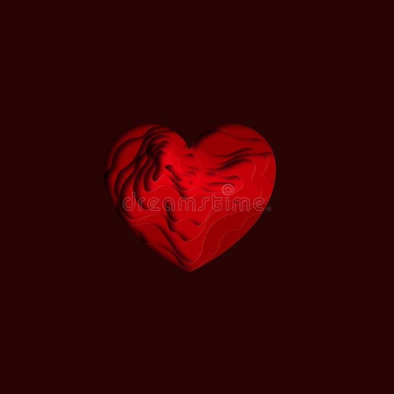 Diseño cortado de papel del fondo del corazón Forma de talla de papel del corazón con la sombra Día feliz del `s de la tarjeta de ilustración del vector