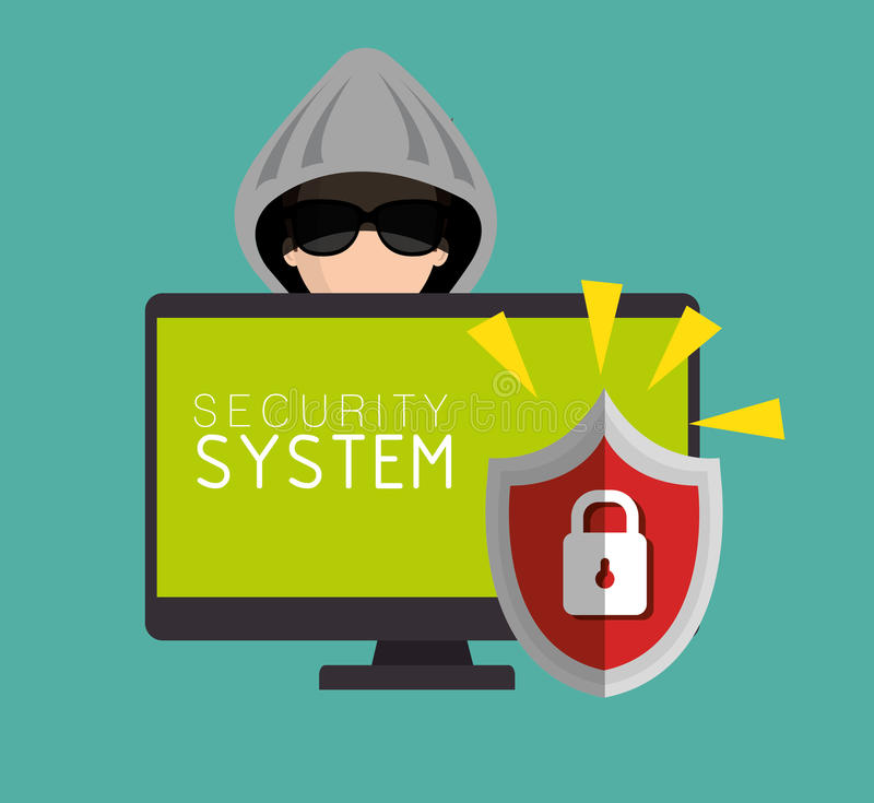 diseño cortado protección del candado del sistema de seguridad stock de ilustración