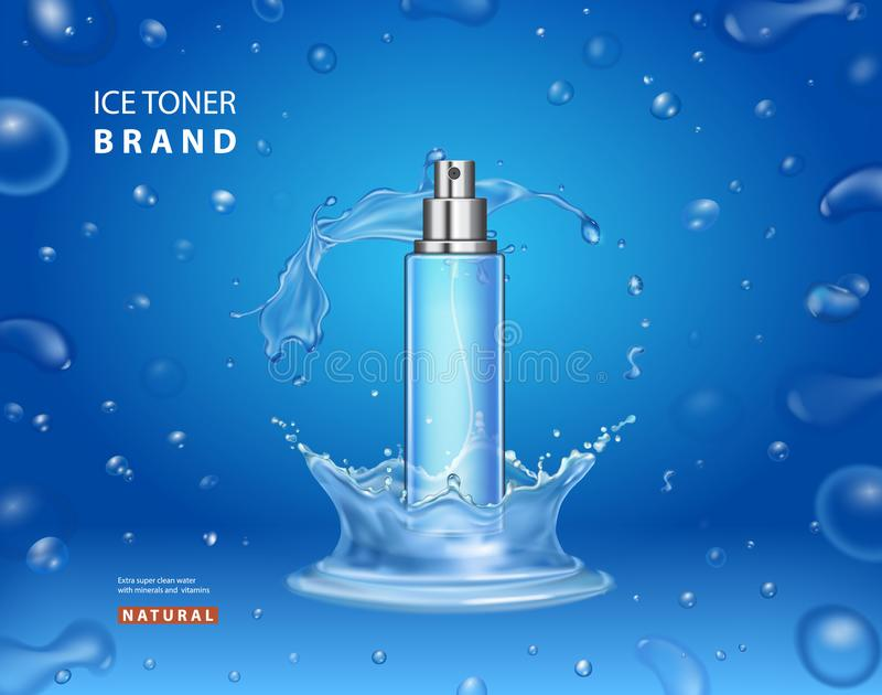 Diseño cosmético de los anuncios de la tinta del hielo Pinte (con vaporizador) la botella stock de ilustración