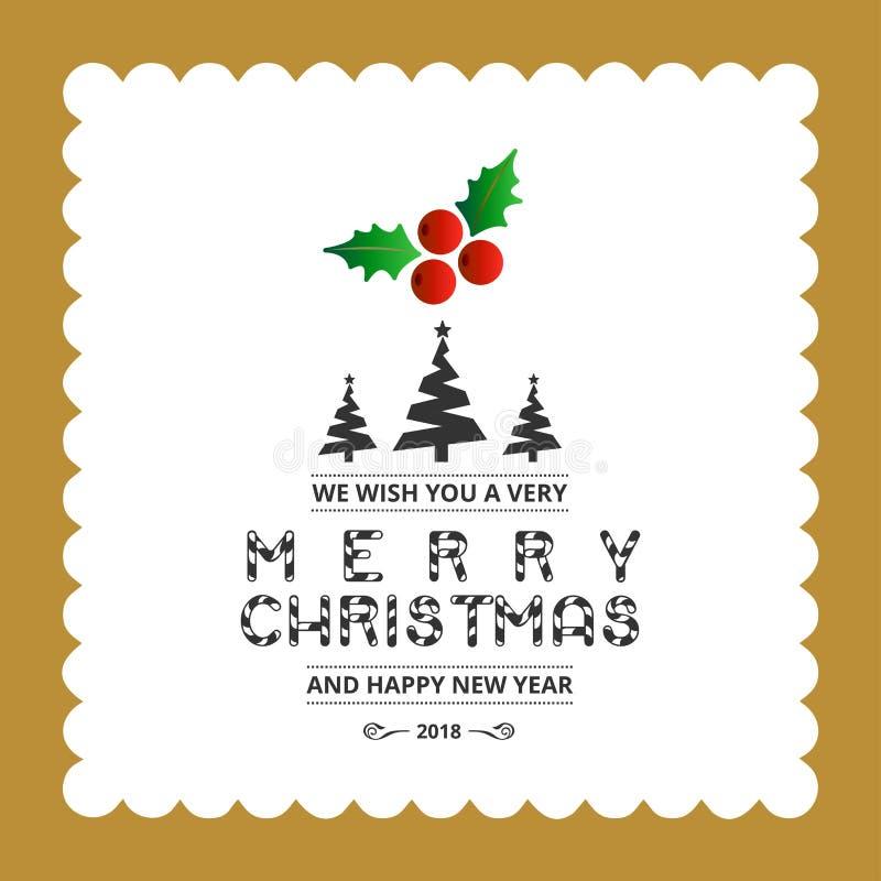 Diseño creativo de la Feliz Navidad con vector de la tipografía stock de ilustración