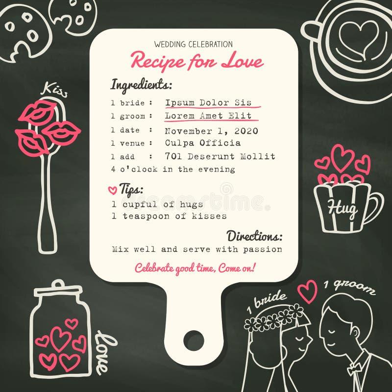 Diseño creativo de la invitación de la boda de la tarjeta de la receta con cocinar concepto ilustración del vector