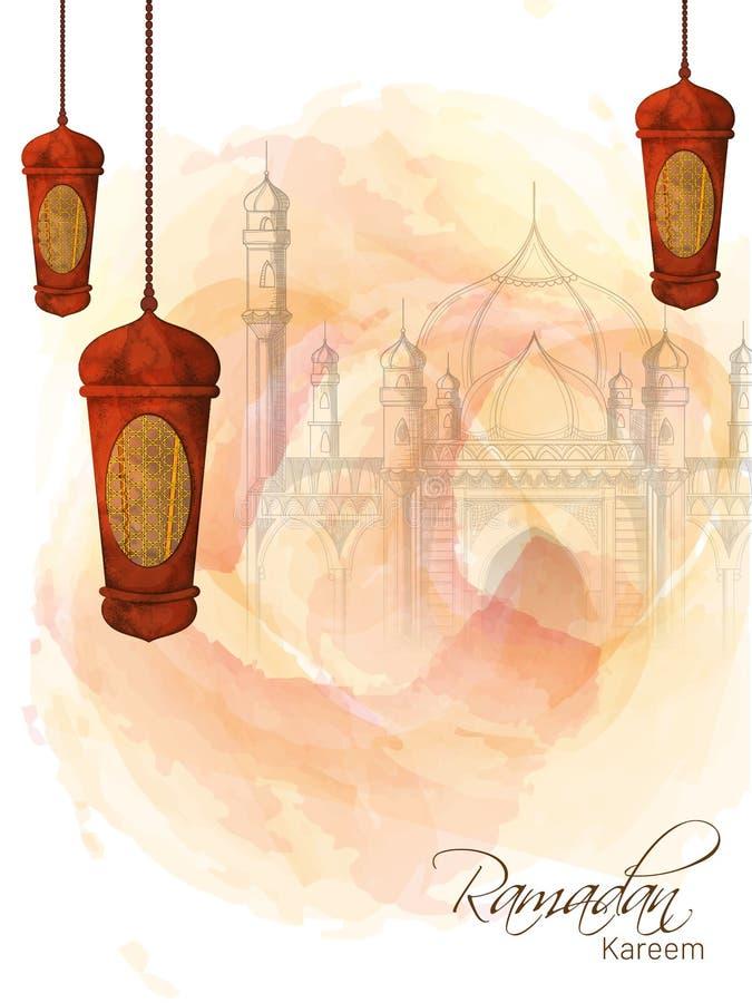 Diseño creativo de la plantilla adornado con las linternas de la ejecución y bosquejar el ejemplo de la mezquita para Ramadan Mub stock de ilustración