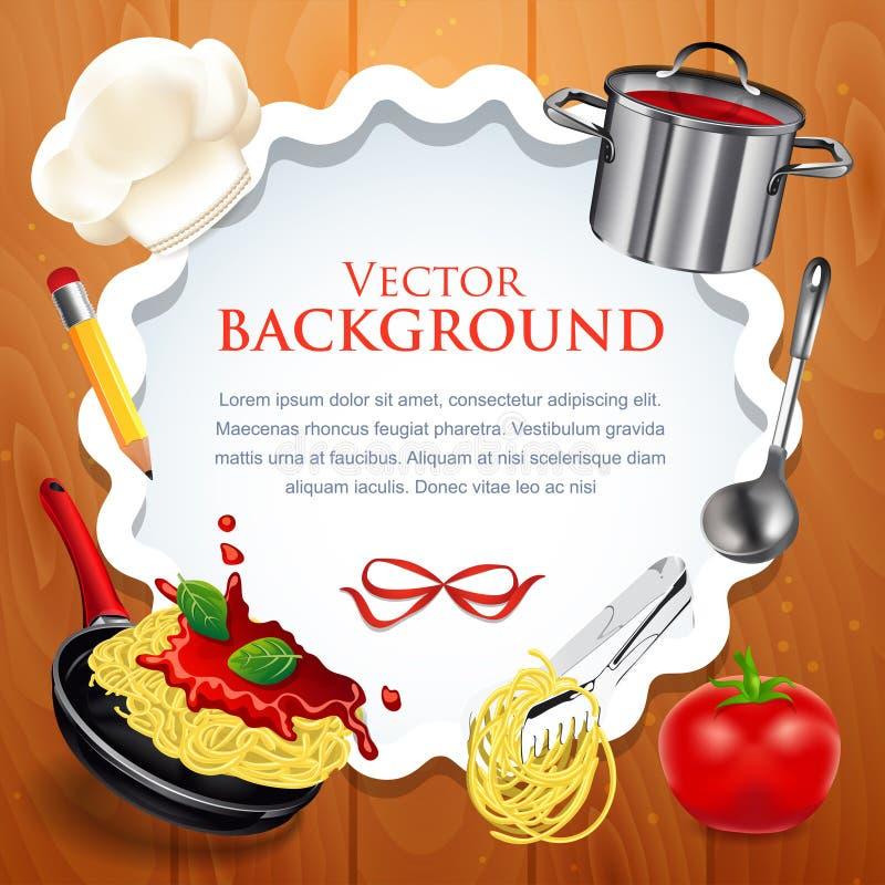 Diseño creativo de la tarjeta de la receta con cocinar concepto stock de ilustración