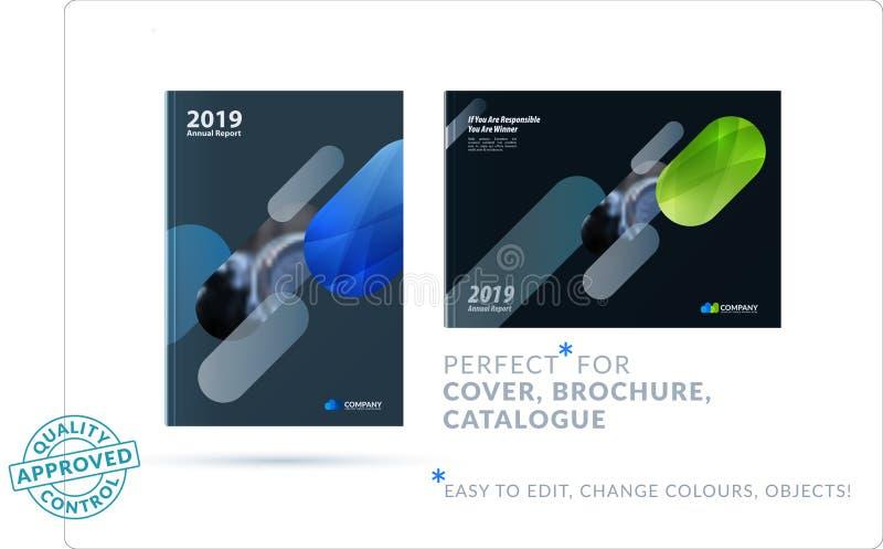 Diseño creativo de sistema del folleto del negocio, disposición horizontal abstracta de la cubierta, aviador en A4 con colorido r stock de ilustración