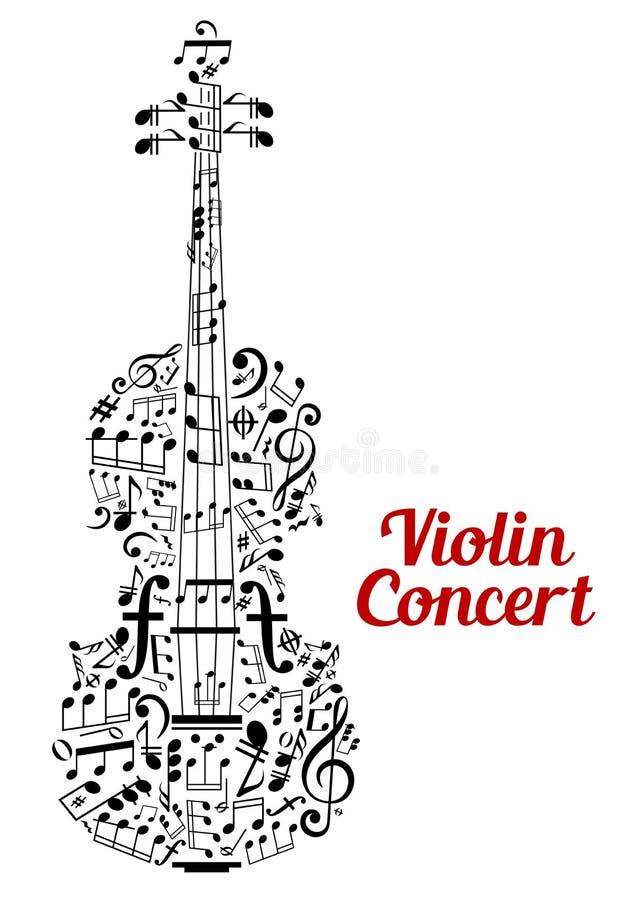 Diseño creativo del cartel del concierto del violín stock de ilustración
