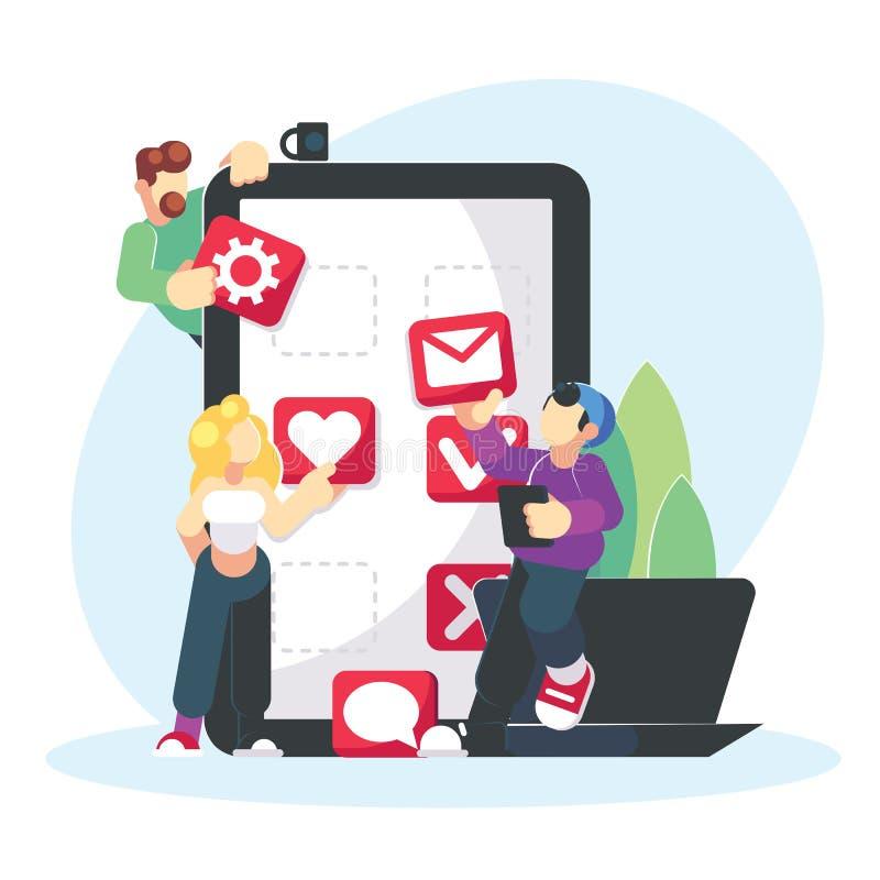 Diseño creativo del desarrollo de aplicación móvil Concepto social de los medios del estudiante del trabajo en equipo Compañeros  stock de ilustración