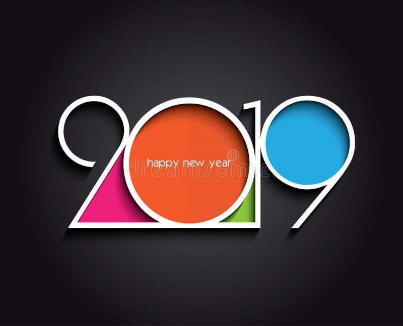 Diseño creativo del fondo del Año Nuevo 2019 que crea la tarjeta stock de ilustración