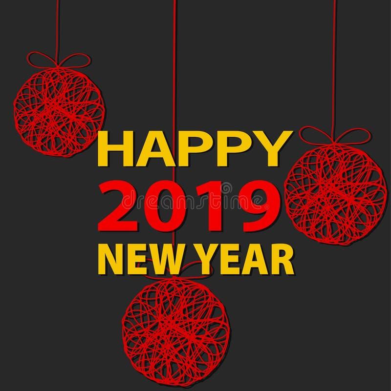 Diseño creativo del fondo de 2019 Felices Año Nuevo o de la Navidad para stock de ilustración