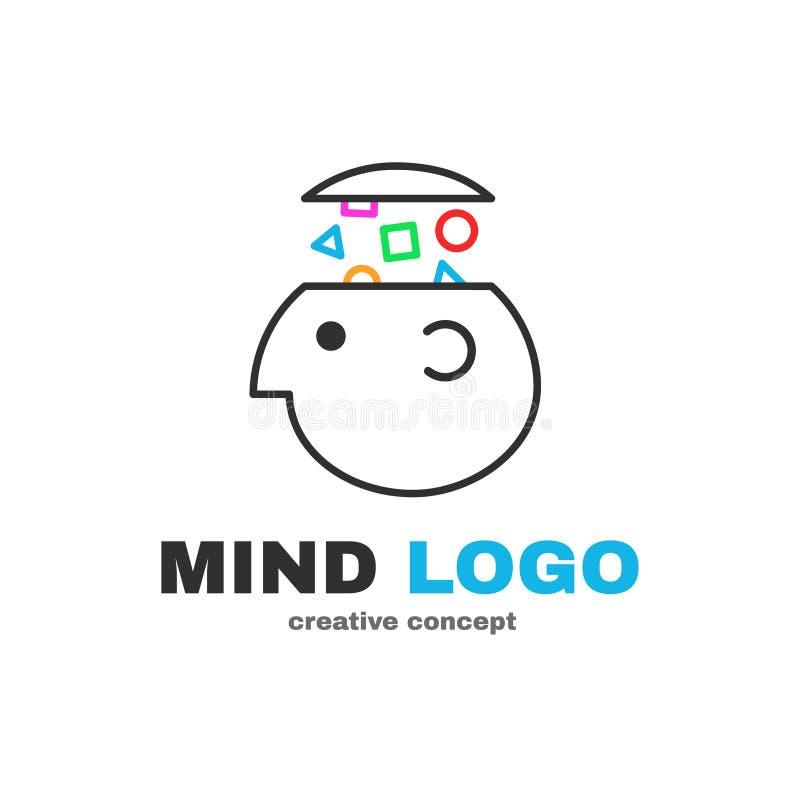 Diseño creativo del logotipo de la lógica de la mente Vector stock de ilustración