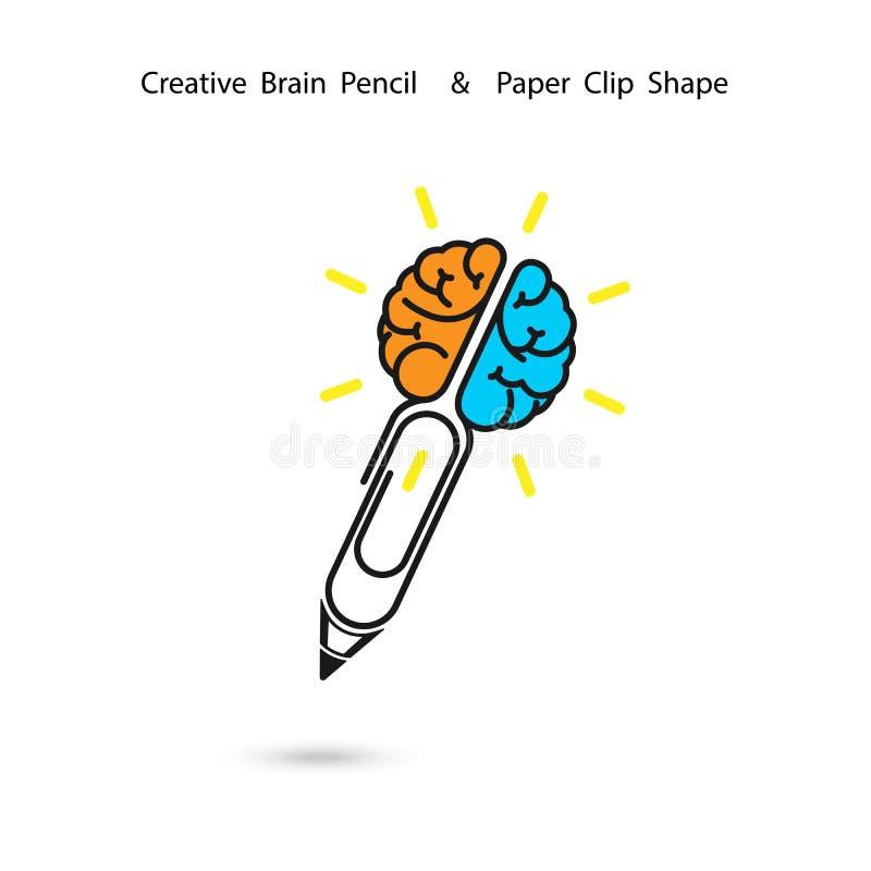 Diseño creativo del logotipo del lápiz del cerebro, muestra del clip de papel Concepto de ide ilustración del vector