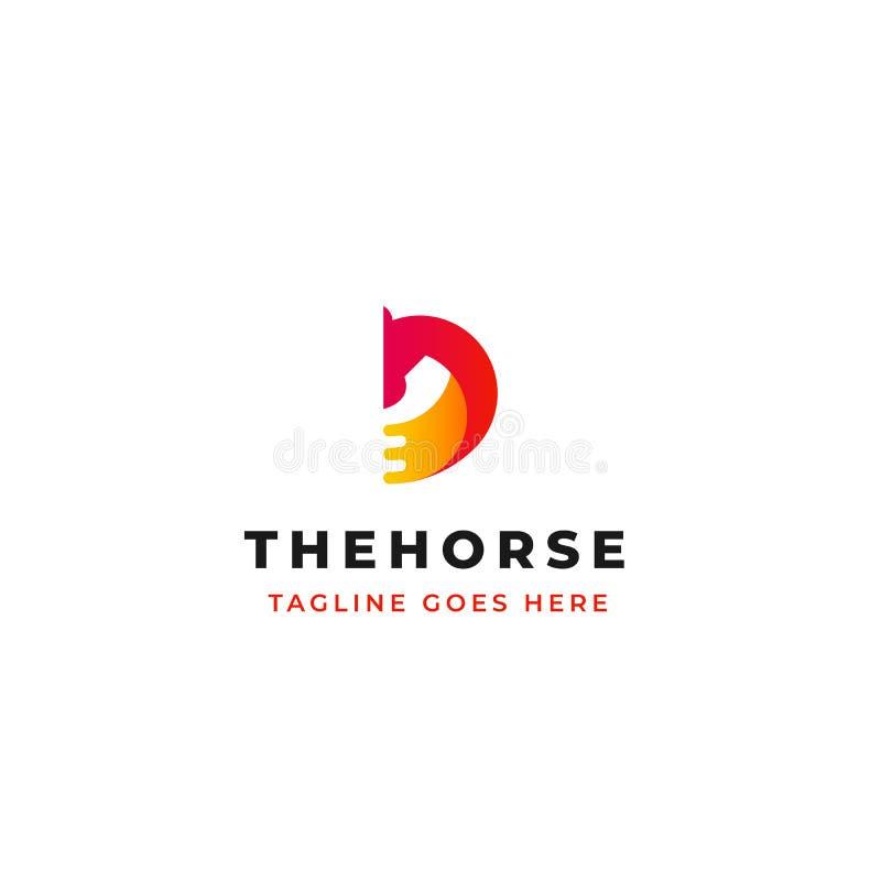 Diseño creativo del logotipo del vector de la cabeza de caballo con diseño del icono del símbolo de la letra D ilustración del vector