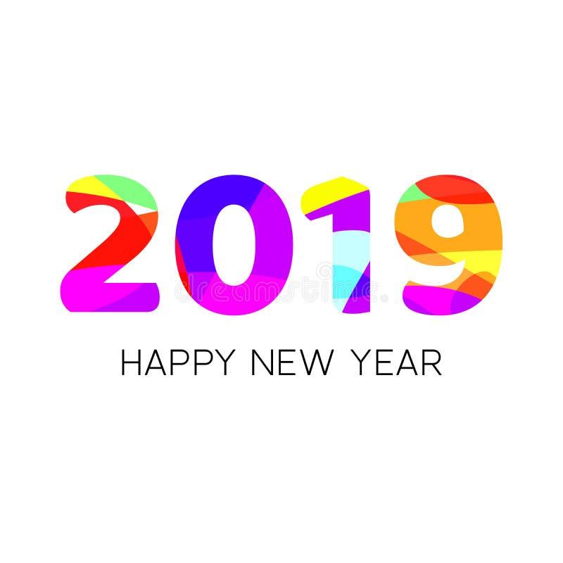 Diseño creativo del texto de la Feliz Año Nuevo 2019 con la disposición colorida Plantilla del vector para su diseño ilustración del vector