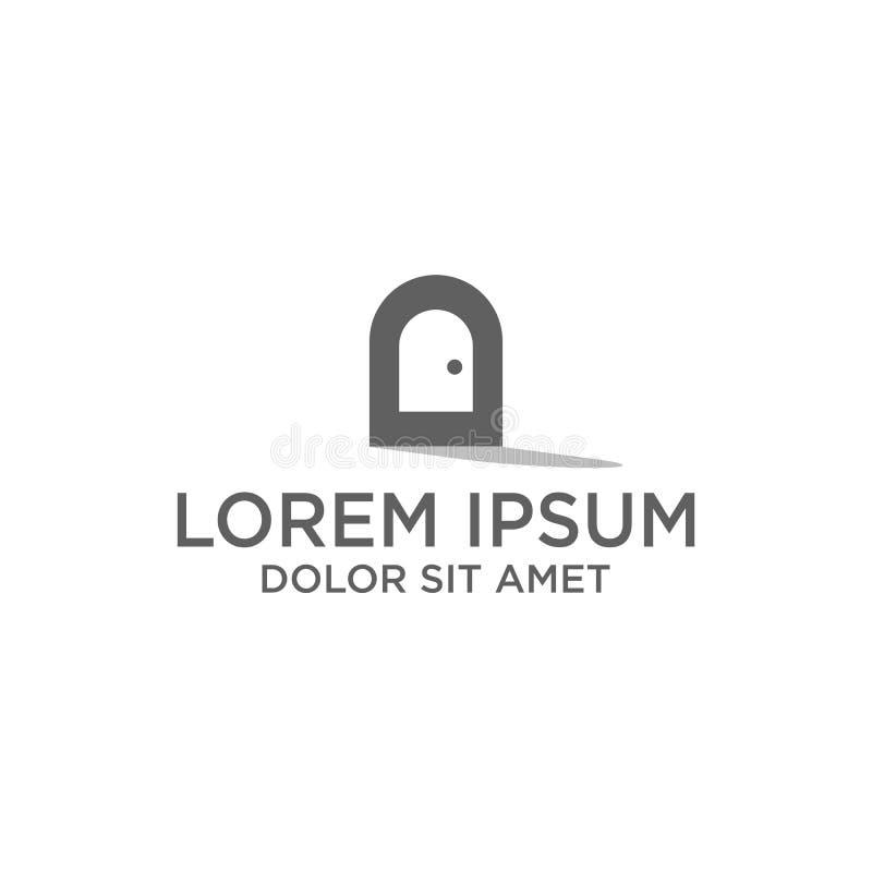 diseño creativo mínimo del logotipo para el icono de la puerta, el ejemplo del vector de la plantilla del logotipo y el logotipo  stock de ilustración