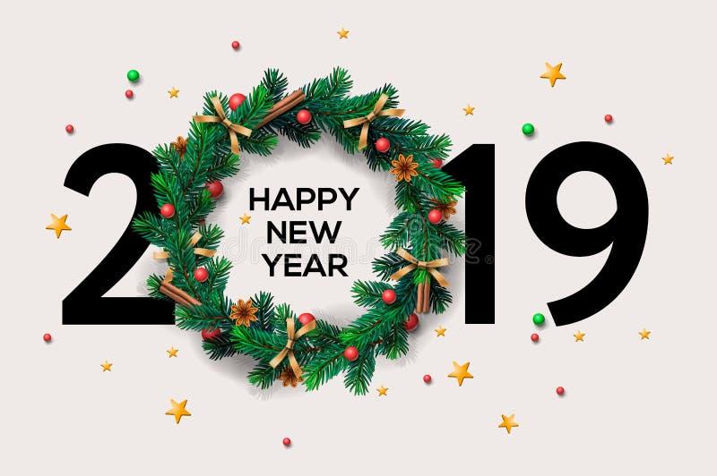 Diseño creativo para su tarjeta de felicitaciones, aviadores, invitación, carteles, folleto del fondo de 2019 Felices Año Nuevo o stock de ilustración