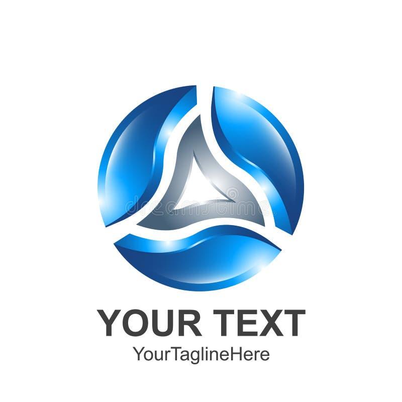 Diseño creativo t del logotipo del vector de la esfera del círculo del triángulo del extracto 3D stock de ilustración