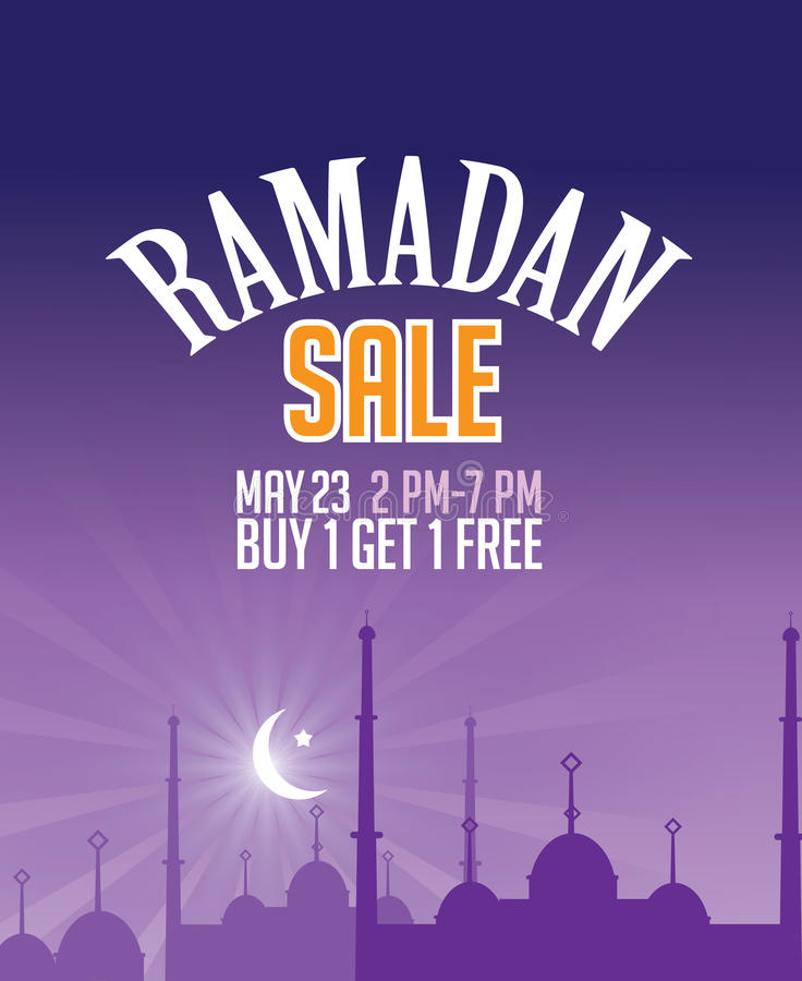 Diseño creciente de la luna de la venta del Ramadán ilustración del vector