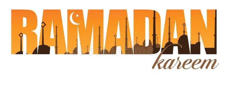 Diseño creciente de la luna del texto del Ramadán ilustración del vector