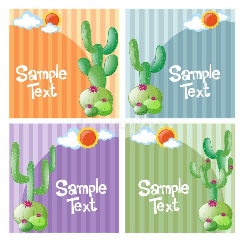 Diseño cuatro de fondo con el cactus stock de ilustración