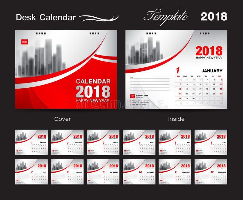 Diseño 2018, cubierta roja de la plantilla del calendario de escritorio, sistema de 12 meses, ilustración del vector