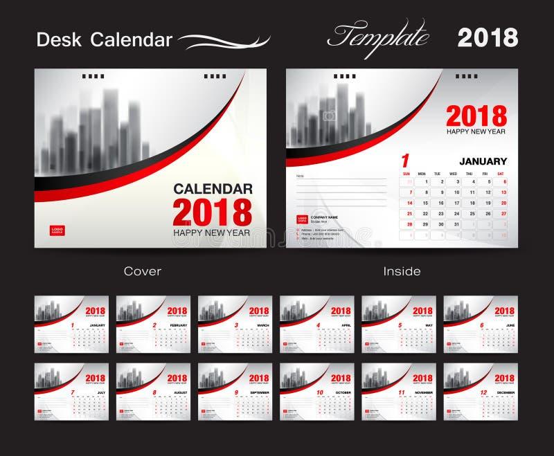 Diseño 2018, cubierta roja de la plantilla del calendario de escritorio, sistema de 12 meses, stock de ilustración