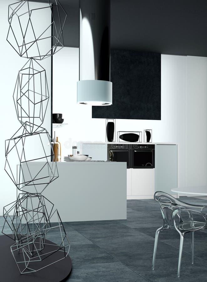 diseño 3D de una cocina casera arquitectónica elegante ilustración del vector