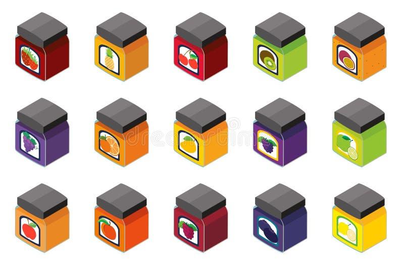 diseño 3D para diverso sabor del atasco stock de ilustración