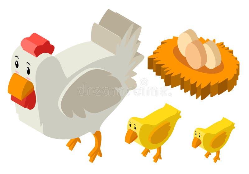 diseño 3D para los pollos y los huevos stock de ilustración