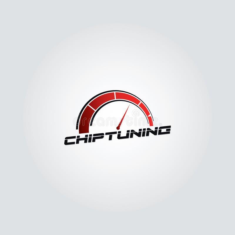 Diseño de adaptación del logotipo del vector de la pendiente del microprocesador rojo del coche con el fondo gris fotografía de archivo libre de regalías