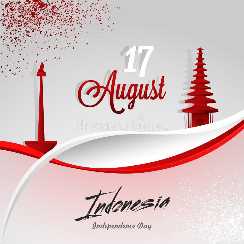 Diseño 17 De Agosto Del Cartel O De La Bandera Con La Torre Y Bali ...