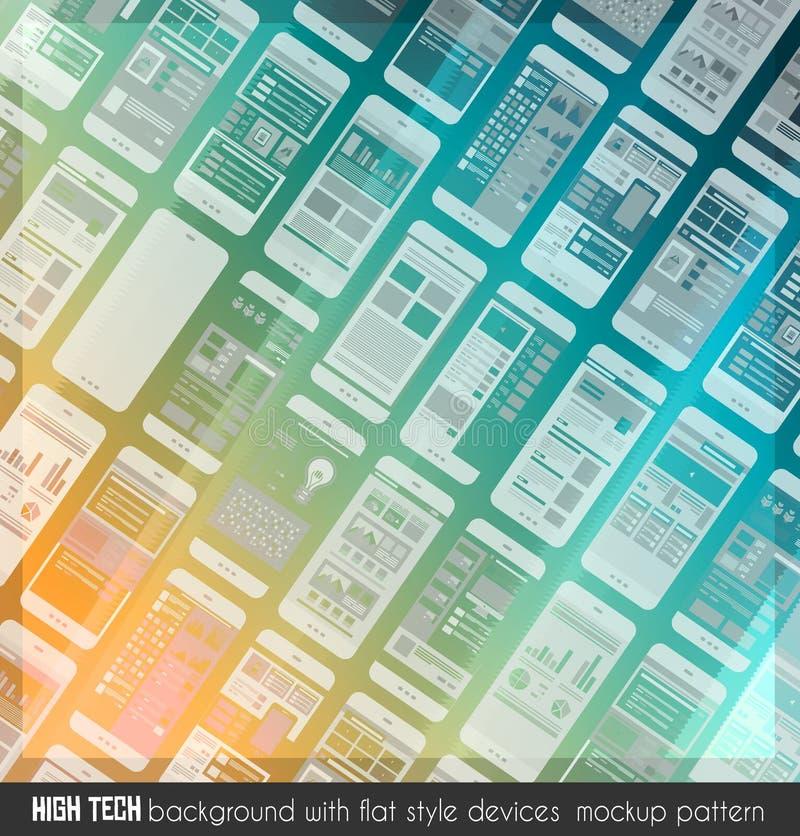Diseño de alta tecnología moderno del fondo con mucha maqueta transparente de los dispositivos stock de ilustración