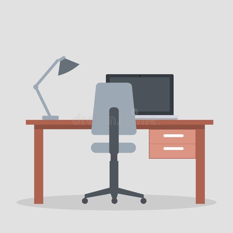 Diseño de ambiente de la oficina con el escritorio del negocio stock de ilustración