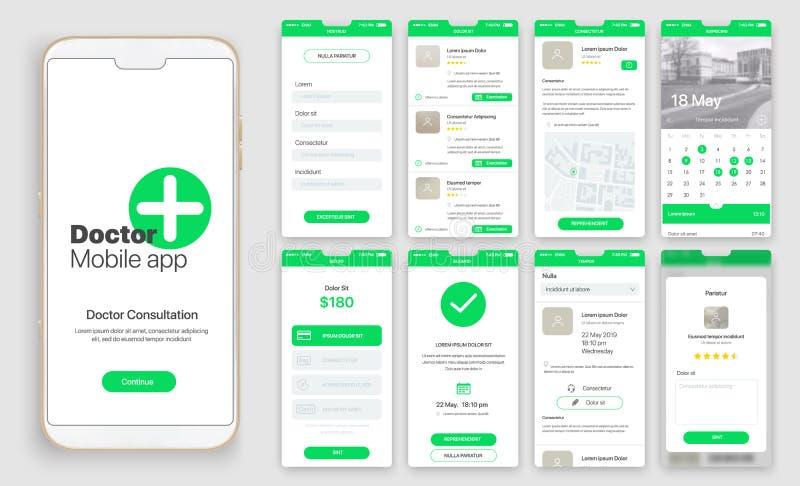 Diseño de app móvil, UI, UX, GUI stock de ilustración