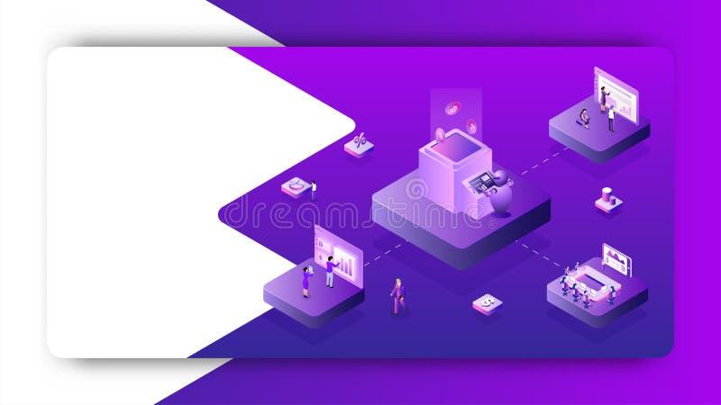 Diseño de aterrizaje de la página con el ejemplo de los hombres de negocios que trabajan junto el proyecto financiero del análisi libre illustration