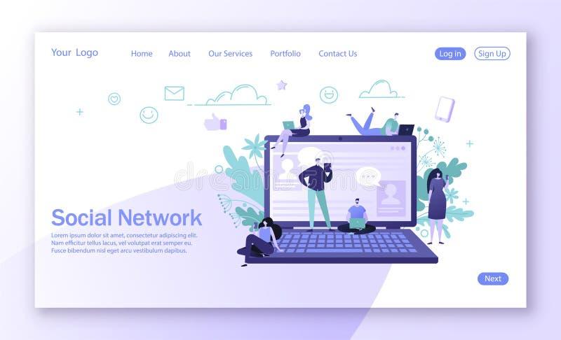 Diseño de aterrizaje de la página en tema social de la red de los medios Comunicación de los caracteres del hombre y de la mujer  ilustración del vector