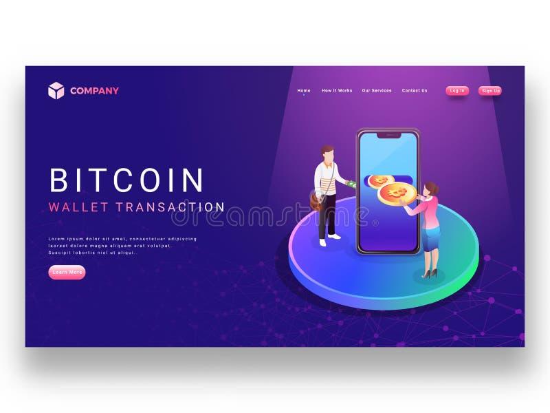 diseño de aterrizaje de la página de transacción de la cartera de Bitcoin con el cryp de la señora stock de ilustración